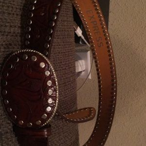 Leather western style belt
